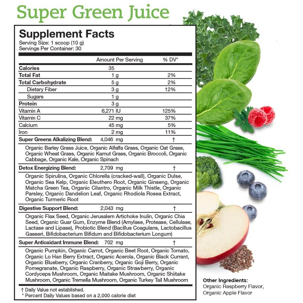 Super Green Juice Supplement Facts